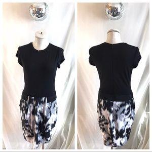 Cache Short Sleeve Drop Waist Printed Skirt Dress